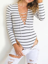 Sexy Bandage Striped Long Sleeve Deep V Neck Jumpsuit