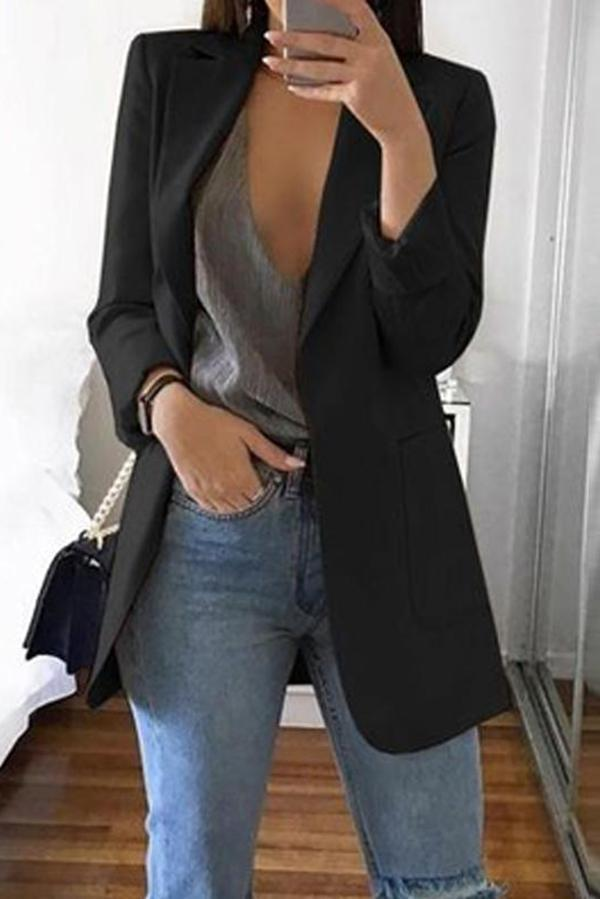 Fashion Solid Color Long-Sleeve Pocket Suit Black xl