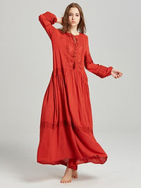 National Bohemia Long Sleeves Maxi Dress RED S(Bust32.3 Sleeve21.7 Length50.8)