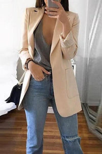 Fashion Solid Color Long-Sleeve Pocket Suit Gray s