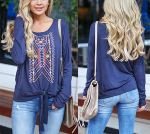 Casual Ethnic Style   Printed Long Sleeve Blouse T-Shirt Claret s