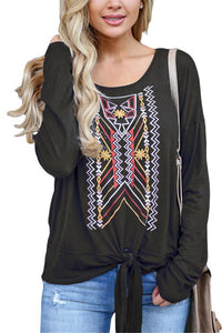 Casual Ethnic Style   Printed Long Sleeve Blouse T-Shirt Black s
