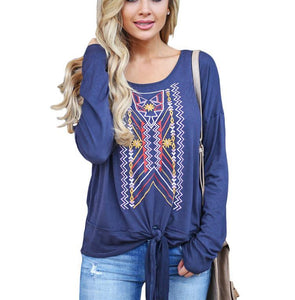 Casual Ethnic Style   Printed Long Sleeve Blouse T-Shirt Black 2xl