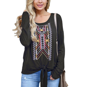 Casual Ethnic Style   Printed Long Sleeve Blouse T-Shirt Black l