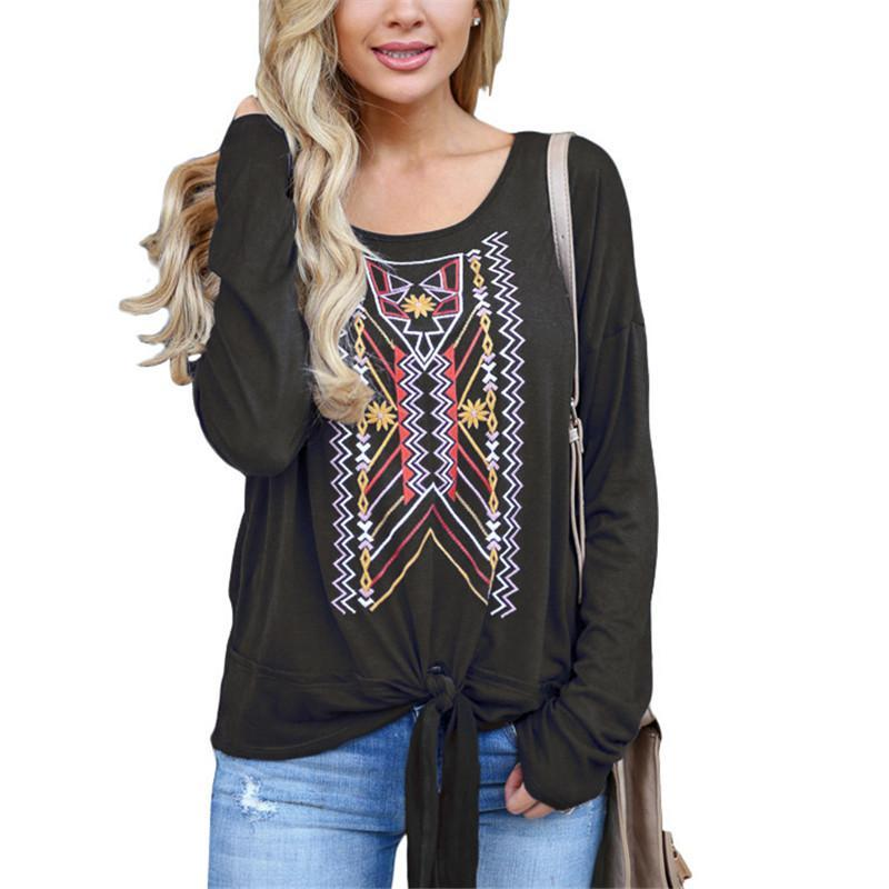 Casual Ethnic Style   Printed Long Sleeve Blouse T-Shirt Black m