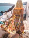 Floral Spaghetti-neck Maxi Dress L