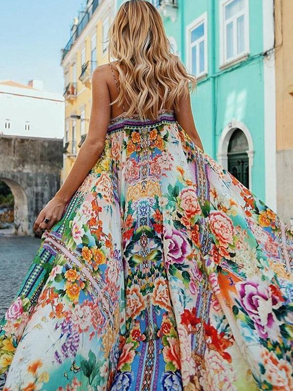 Floral Spaghetti-neck Maxi Dress S