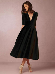 Solid Color V-neck Half Sleeves Evening Dresses BLACK L