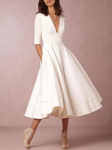 Solid Color V-neck Half Sleeves Evening Dresses WHITE S