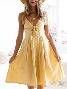 Solid Color Bowknot Midi Dresses YELLOW S