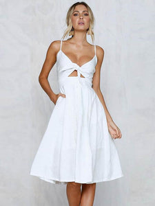 Solid Color Bowknot Midi Dresses WHITE L
