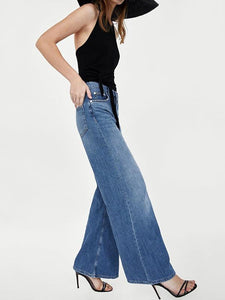 High Waist Wide Legs Jeans DARK BLUE S