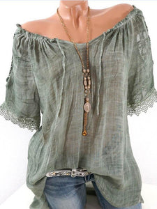 Chiffon Sexy Off-the-shoulder Ruffle Short Sleeves Blouse\u0026shirt Tops ARMY GREEN S