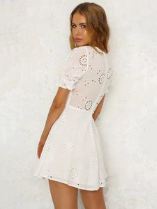 Bohemia Hollow V-neck Mini Dresses WHITE L