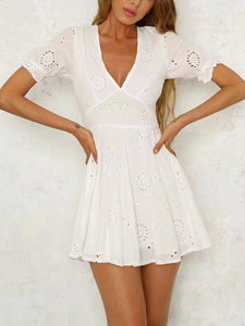 Bohemia Hollow V-neck Mini Dresses WHITE S