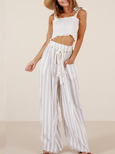 Striped Wide Leg Bottom Casual Pants WHITE S