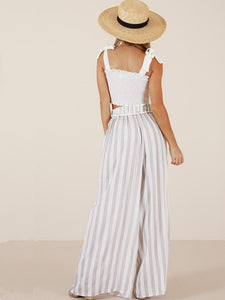 Striped Wide Leg Bottom Casual Pants WHITE XL