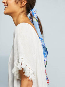 Stylish Vovo White Loose Short Sleeves Beach Cover-Ups