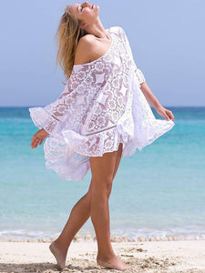 Stylish Vovo Lace Embroidered Backless Beach Cover-Ups