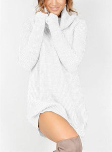 Casual Sexy Pure Color   Semi-High Neck Long Sleeve Sweater Mini Dress Pink xl