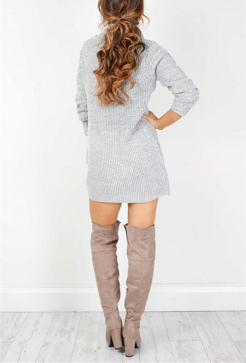 Casual Sexy Pure Color   Semi-High Neck Long Sleeve Sweater Mini Dress Pink s