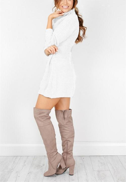 Casual Sexy Pure Color   Semi-High Neck Long Sleeve Sweater Mini Dress Khaki s