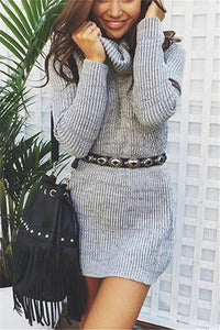 Casual Sexy Pure Color   Semi-High Neck Long Sleeve Sweater Mini Dress Gray s