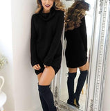 Casual Sexy Pure Color   Semi-High Neck Long Sleeve Sweater Mini Dress Khaki l