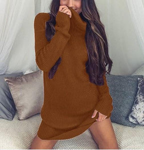 Casual Sexy Pure Color   Semi-High Neck Long Sleeve Sweater Mini Dress Black s