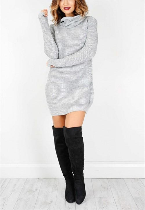 Casual Sexy Pure Color   Semi-High Neck Long Sleeve Sweater Mini Dress Gray l
