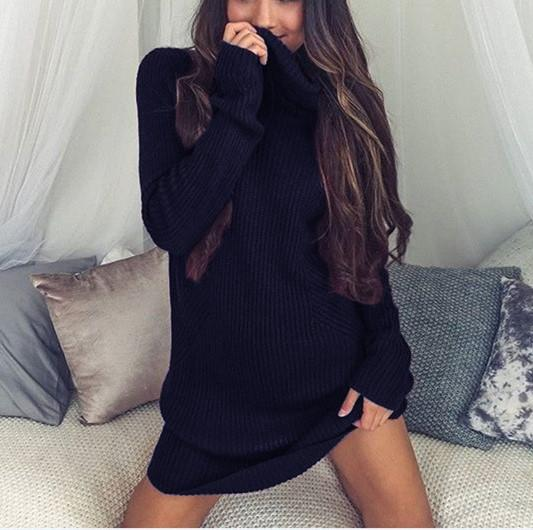 Casual Sexy Pure Color   Semi-High Neck Long Sleeve Sweater Mini Dress White xl