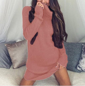 Casual Sexy Pure Color   Semi-High Neck Long Sleeve Sweater Mini Dress Pink m