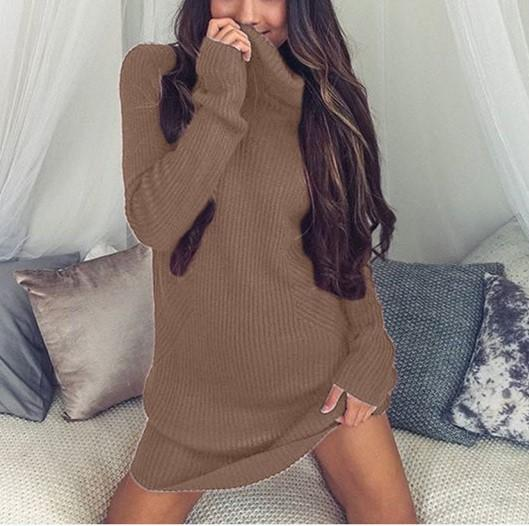 Casual Sexy Pure Color   Semi-High Neck Long Sleeve Sweater Mini Dress Pink l