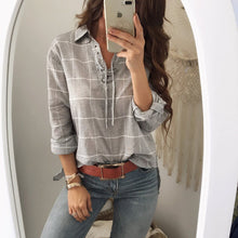Fashion Long Sleeve Loose Shown Thin Plaid Shirt Blouse
