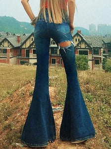 Denim Leg Shredded Bell-Bottom Pants BLUE S