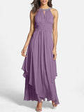 Chiffon Halterneck Beaded Sleeveless Maxi Dress PURPLE S