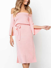 Pink Off-the-shoulder Waisted Bandage Midi Dress