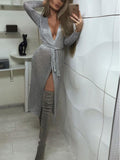 Temperament Cardigan Slim Evening Dress silver s