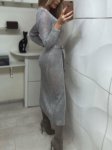 Temperament Cardigan Slim Evening Dress silver m