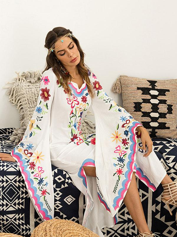 Pink Blue Fairy Sleeves Embroidered Maxi Dress RED L