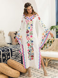 Pink Blue Fairy Sleeves Embroidered Maxi Dress BLUE S