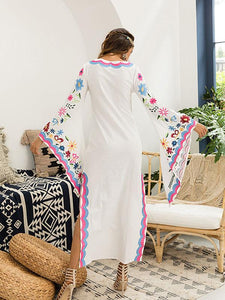 Pink Blue Fairy Sleeves Embroidered Maxi Dress BLUE M