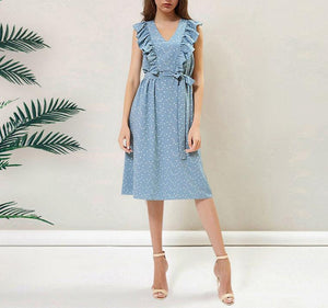 Fashion Lovely V Collar Flouncing Dot Belt Shift Dress
