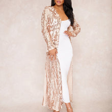 Fashion Long Sleeve Sequin See-Through Cardigan