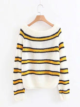 Knitting Striped Puff Sleeve Sweater Tops