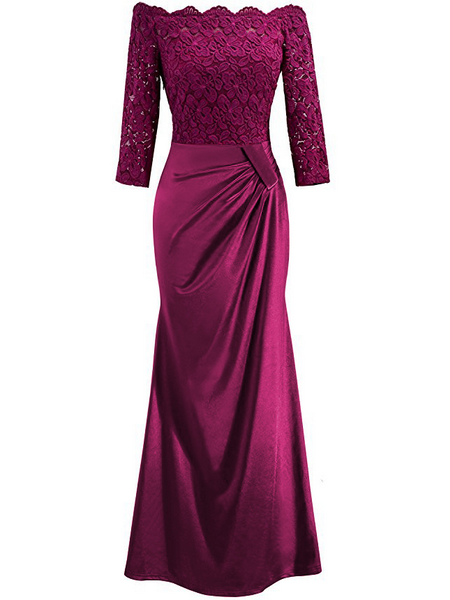 Sexy Lace Shoulder-Out   Evening Dress Claret m