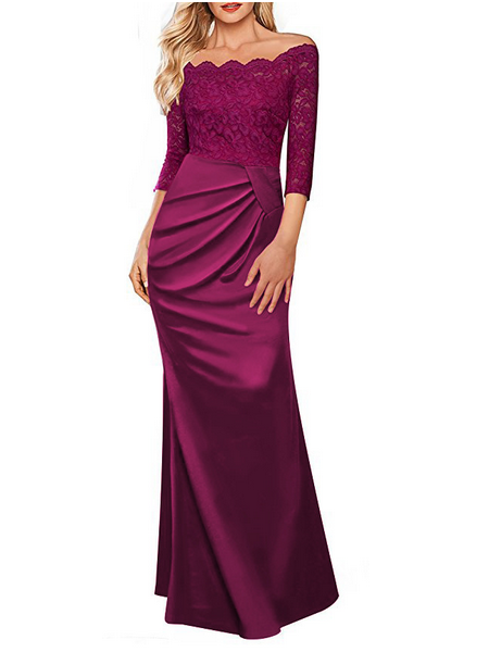 Sexy Lace Shoulder-Out   Evening Dress Claret s