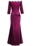 Sexy Lace Shoulder-Out   Evening Dress Claret l