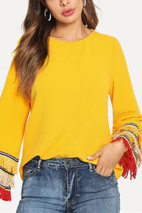 Fashion Tassels Long Sleeve Plain Shirts Yellow xl