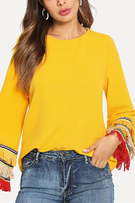 Fashion Tassels Long Sleeve Plain Shirts Yellow m